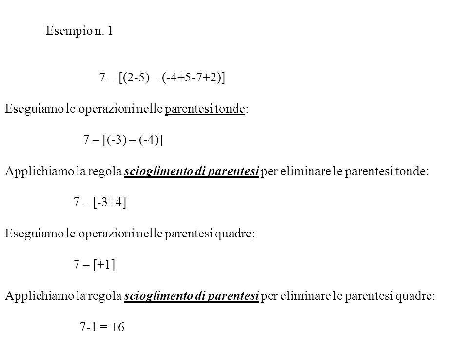 Eseguiamo le operazioni nelle parentesi tonde: 7 – [(-3) – (-4)]